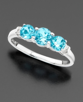 14k White Gold Three-Stone Blue Topaz (7/8 ct. tw.) & Diamond Accent Ring