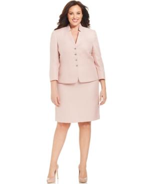 Tahari ASL Plus Size Herringbone Skirt Suit