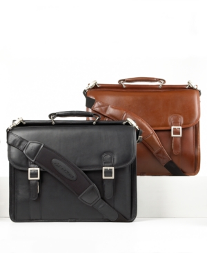 McKlein Double Compartment Leather Brief, Halsted Flapover Laptop Friendly Business Case