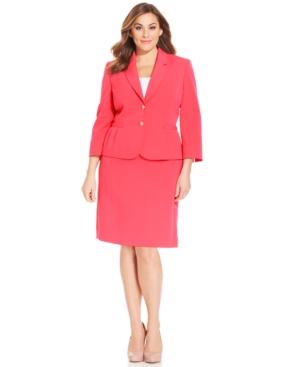 Tahari ASL Plus Size Two-Button Crepe Skirt Suit