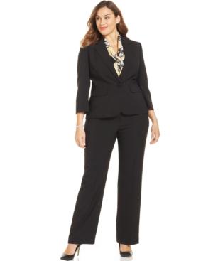 Le Suit Plus Size Solid Printed-Scarf Pantsuit