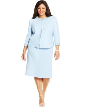 Tahari ASL Plus Size Pearl-Trim Snap-Front Skirt Suit