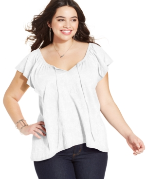 Extra Touch Plus Size Printed Flutter-Sleeve Peasant Top