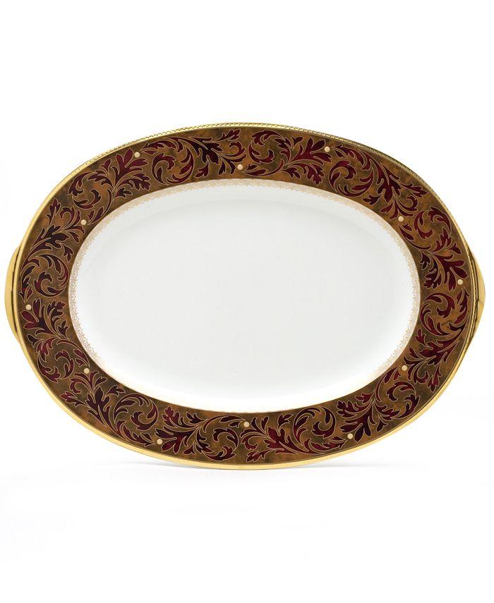 """Noritake - """"Xavier Gold"""" Oval Platter, 14"""""""