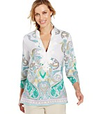 Charter Club Petite Embroidered Paisley Linen Tunic