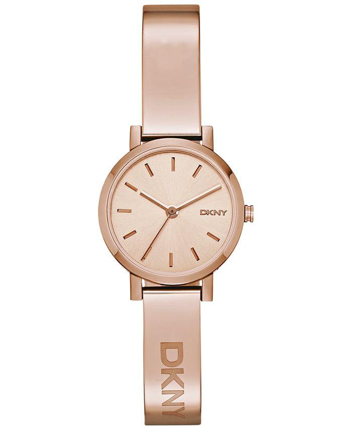 DKNY - Women's Soho Rose Gold-Tone Stainless Steel Half-Bangle Bracelet Watch 24mm NY2308