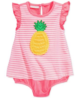 First Impressions Baby Girls' Striped Pineapple Romper