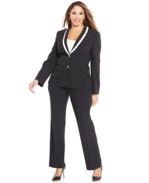 Tahari ASL Plus Size Two-Button Pantsuit