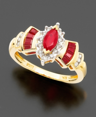 14k Gold Ruby (7/8 ct. t.w.) & Diamond (1/8 ct. t.w.) Ring - Gemstone Rings