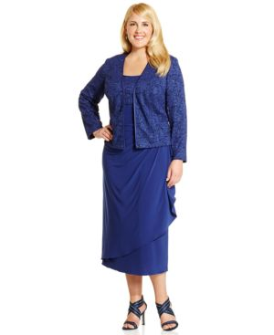Alex Evenings Plus Size Lace A-Line Dress and Jacket