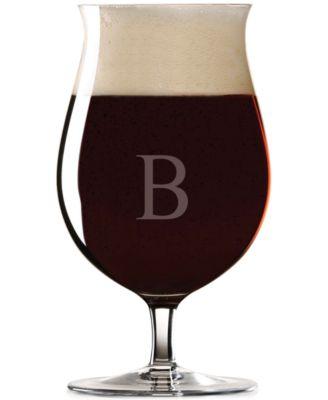 Lenox Tuscany Monogram Barware, Set of 4 Block Letter Stemmed Pilsner Glasses