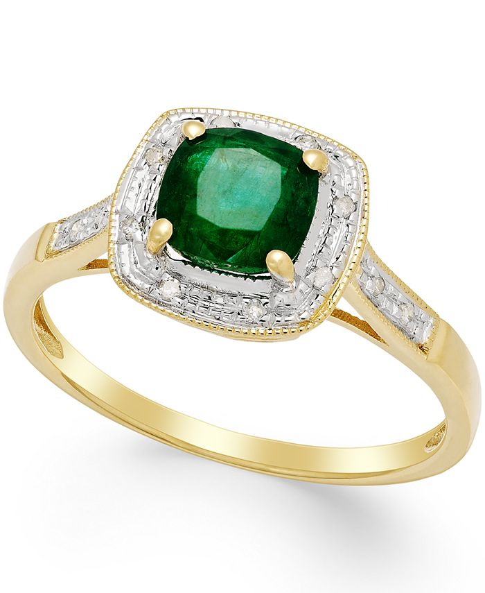 Macy's - Emerald (3/4 ct. t.w.) and Diamond Accent Ring in 14k Gold