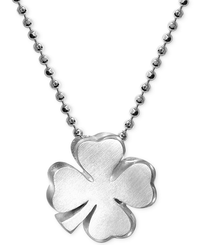 Alex Woo - Little Faith Clover Pendant Necklace in Sterling Silver