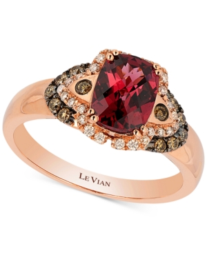 Le Vian Raspberry Rhodolite Garnet (1-1/2 ct. t.w.) and Diamond (1/5 ct. t.w.) Ring in 14k Rose Gold