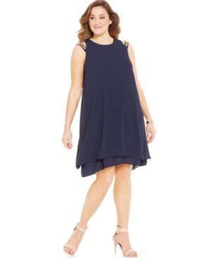 Alfani Plus Size Cold-Shoulder Studded Shift Dress