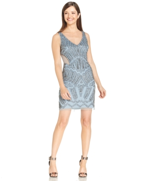 Adrianna Papell Embellished Cutout Cocktail Dress $130.99 AT vintagedancer.com