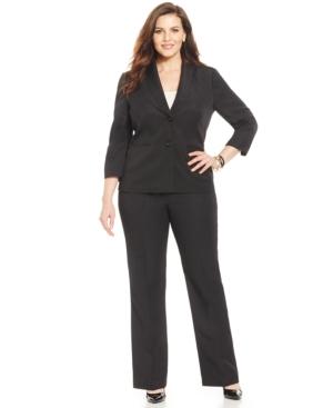 Le Suit Plus Size Two-Button Pantsuit