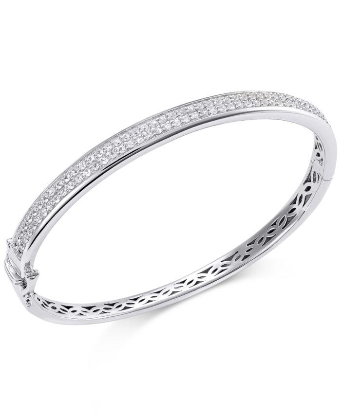 Macy's White Sapphire Bangle Bracelet in Sterling Silver (2 ct. t.w.) & Reviews - Bracelets - Jewelry & Watches - Macy's