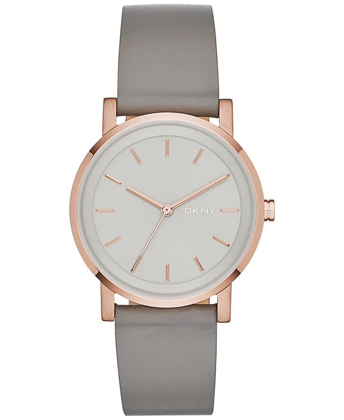 DKNY - Women's Soho Gray Leather Strap Watch 34mm, Created for Macy's