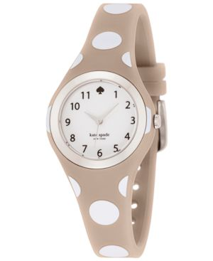 kate spade new york Women's Rumsey White and Gray Polka Dot Silicone...