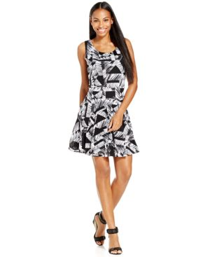 Style & Co. Sleeveless Printed Fit-&-Flare Dress