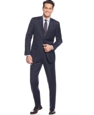 Tasso Elba Navy Bold Pinstripe Suit $279.99 AT vintagedancer.com