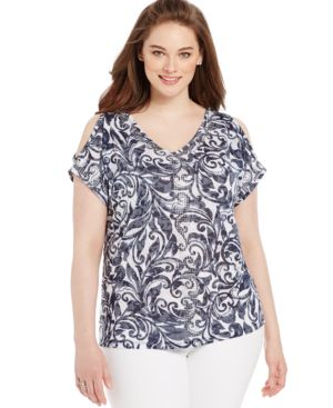 Inc International Concepts Plus Size Printed Cold-Shoulder Top