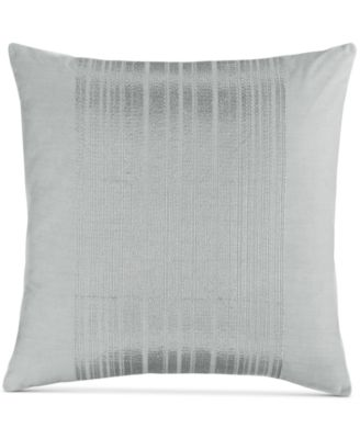 """Calvin Klein Acacia 18"""" Square Silver Stripes Decorative Pillow"""