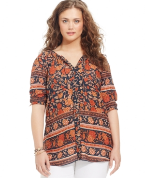 Lucky Brand Plus Size Floral-Print Peasant Blouse