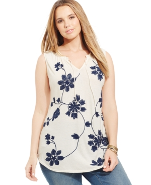 Lucky Brand Plus Size Sleeveless Floral-Print Peasant Top