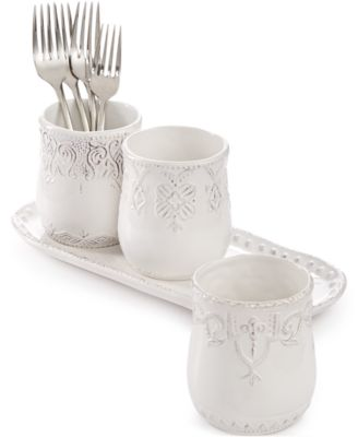 Maison Versailles Blanc 4-Pc. Flatware Caddy