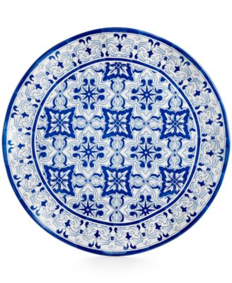 "Qsquared Talavera Azul Collection Melamine 16"" Serving Platter"