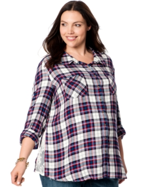 Motherhood Maternity Plus Size Lace-Inset Plaid Shirt plus size,  plus size fashion plus size appare