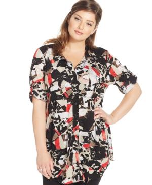 Style & Co. Plus Size Geo-Print Tunic Shirt
