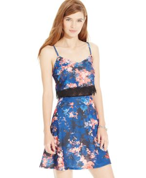 Material Girl Juniors' Mesh-Waist Floral-Print Dress