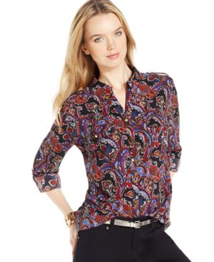 Ny Collection Tab-Sleeve Paisley-Print Shirt