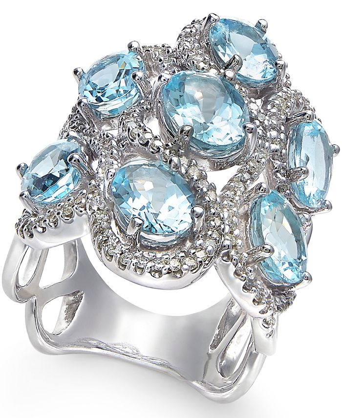 Macy's - Aquamarine (5-9/10 ct. t.w.) and Diamond (5/8 ct. t.w.) Ring in 14k White Gold