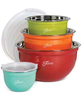 Fiesta Stainless Steel 8-Pc. Lidded Mixing Bowl Set