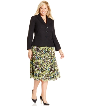 Le Suit Plus Size Three-Button Printed Skirt Suit