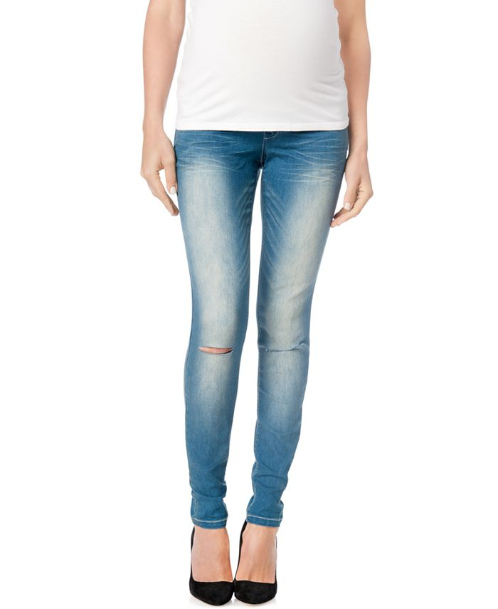 WallFlower - Maternity Ripped Skinny Jeans, Medium Wash
