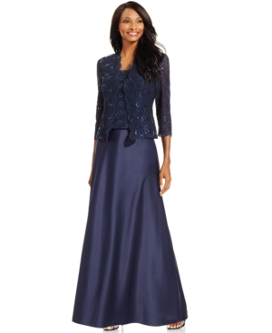 Alex Evenings Sequin-Lace Satin Gown and Jacket $199.00 AT vintagedancer.com