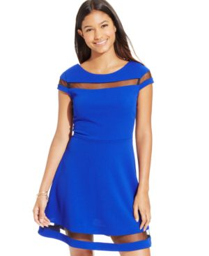Teeze Me Juniors' V-Back Illusion Skater Dress