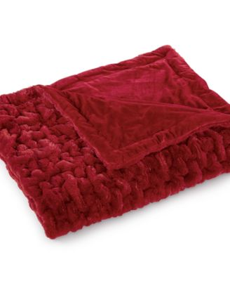 CLOSEOUT! Martha Stewart Collection Quilted Faux Fur Throw, Only at Macy's