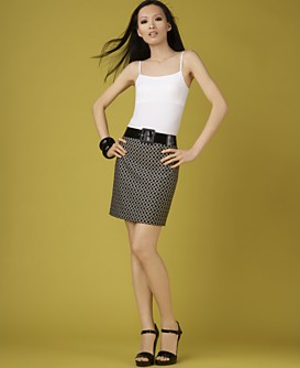 INC International Concepts® Seamless Tank Top & Jacquard Mini Skirt :  mini skirt designer trendy seamless