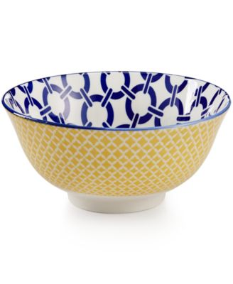 "Certified International Chelsea Collection Porcelain 4.75"" Blue Chainlink Bowl"
