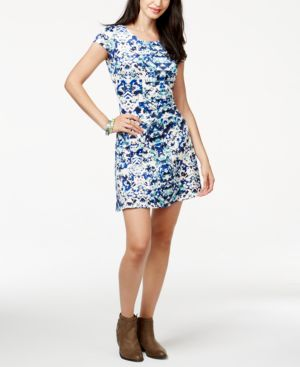 Sequin Hearts Juniors' Printed Cap-Sleeve Scuba Dress