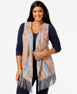 Inc International Concepts Plus Size Printed Fringe Vest, Only at Macy's