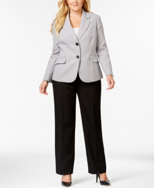 Le Suit Plus Size Tweed Jacket Pantsuit