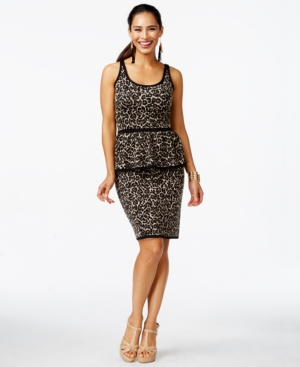 6271b71051f34a ... UPC 848940091869 product image for Thalia Sodi Leopard-Print Peplum  Sweater Dress, ...