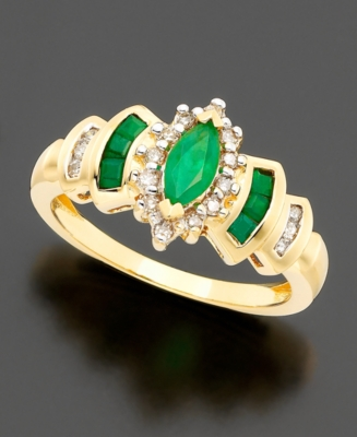 14k Gold Emerald (5/8 ct. t.w.) & Diamond (1/3 ct. t.w.) Ring